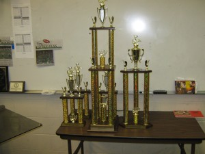 The trophies from the 1st competition